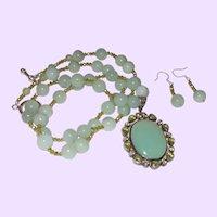 Sterling Silver, Jade, Peridot Pendant Necklace