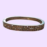 Vintage Silver Plate Rhinestone Bangle Bracelet