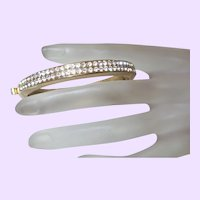 Vintage Bangle Bracelet With Double Rows of Rhinestones