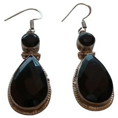 925 Sterling Silver Black Spinel Dangle Earrings