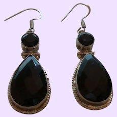 925 Sterling Silver Black Spinel Dangle Earrings