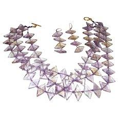 Triple Strand Ametrine Necklace with Dangle Earrings