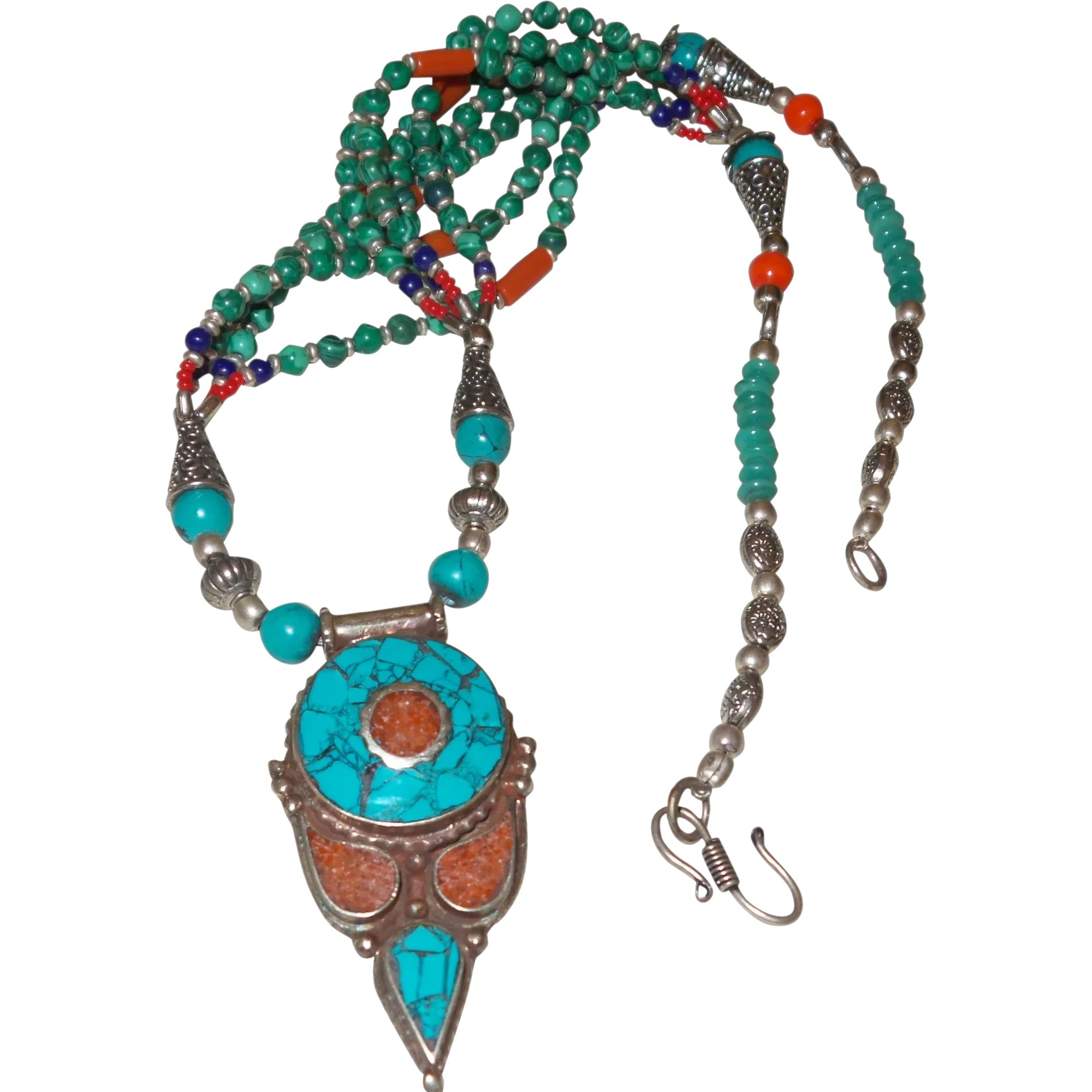 Blue Lapis Mixed Gemstone Necklace Red Coral Green Serpentine Turquoise