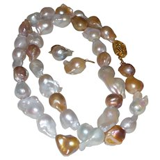 Hand Strung Cultured Baroque Pearl Necklace with Earrings