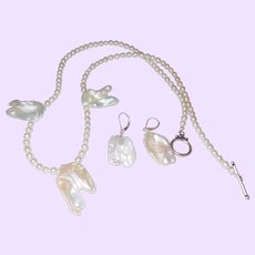 Elegant Cultured and Free Form Keshia Pearl Necklace with Earrings