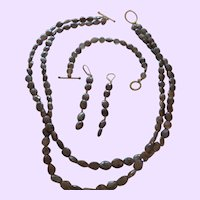 Natural Double Strand Faceted Moonstone Necklace Set