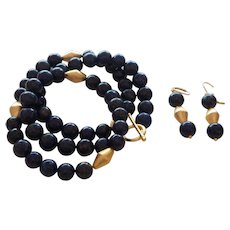 Hand Strung Lapis Necklace with Gold Plate Trillion Cut Beads