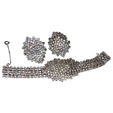 Superb Vintage Rhinestone Waterfall Bracelet and Earrings Set