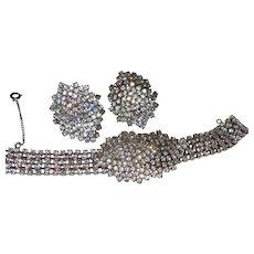Superb Vintage Rhinestone Waterfall Bracelet and Earrings Set