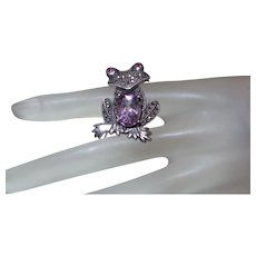 Sterling Silver Figural Frog Brooch with Marcasite, Garnets and Amethyst