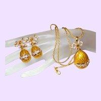 Craft Signed Designer Enamel Egg Pendant Necklace with Earrings
