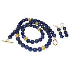 Hand Strung Lapis Lazuli Opera Length Necklace with Earrings