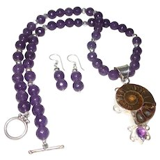 Hand Strung Amethyst Necklace with Ammonite Pendant