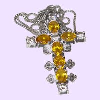 Vintage Citrine and Rhinestone Cross