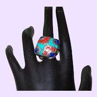 Ethnic Inlaid Coral, Turquoise and Lapis Ring
