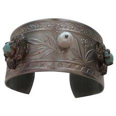 Vintage Ethnic Silver Plate Clamper Bracelet