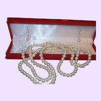 Chinese Export 53 Inch Cultured Pearl Necklace with Earrings