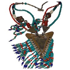 Ethnic Large Vintage Coral-Turquoise-Lapis and Amber Necklace