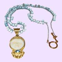 Hand Strung Blue Topaz Briolette Necklace with Gold Plate  Goddess Pendant