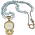 Hand Strung Blue Topaz Briolette Necklace with Gold Plate  Goddess Pendant