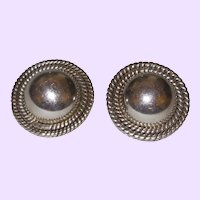 Sterling Silver Signed Taxco  Button Rope Clip Earrings