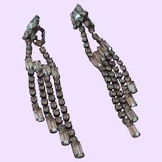 Vintage Rhinestones Long Dangle Shoulder Duster Clip Earrings