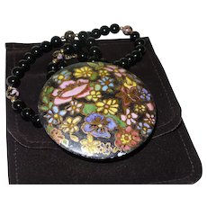 Vintage  Black Onyx Floral Cloisonne Bead Necklace