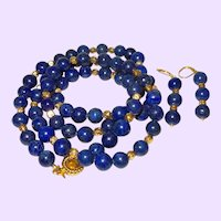 Hand Strung Lapis Lazuil Necklace with 14 Karat Gold Plate Beads