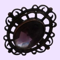 Edwardian Hat Pin With Filigree Setting and Amethyst Glass Stone