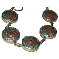 Ethnic Bracelet with Inlaid Turquoise, Lapis and Coral