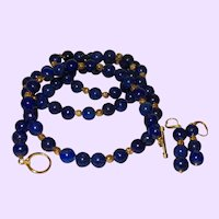 Artisan Lapis Lazuli Necklace with Gold Plate Beads and Earrings