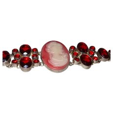Vintage Resin Cameo Bracelet with Rhinestones Set In Silver