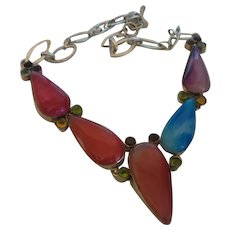 Ethnic Botswana Agate Necklace With Gemstones Set In Silver