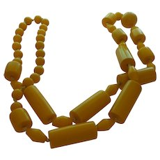 Vintage Sunny Yellow Bakelite Necklace