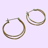 Vintage 14 Karat Gold Double Loop Earrings