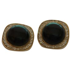 Vintage Diamond and Onyx Earrings Set in 14 Karat Gold