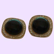 Vintage Diamond and Onyx Earrings Set in 14 Karat Gold