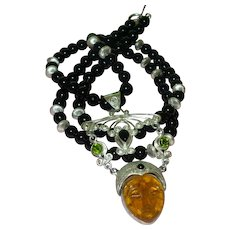 Hand Strung Black Onyx  Necklace With Moon Goddess Pendant