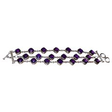 Ethnic Triple Row Amethyst Bracelet