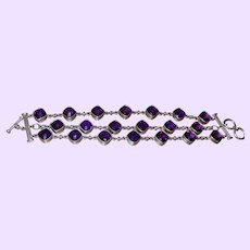 Ethnic Triple Row Amethyst Bracelet