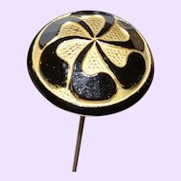 Edwardian Black Jet hat Pin With Gold Plate Trim