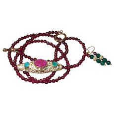 Hand Strung Enhanced Red Ruby Neckalce With Nepal Pendant