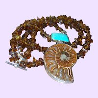 Hand Strung Baltic Amber With Ammonite And Turquoise Pendant