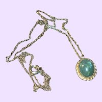 Vintage Nephrite Jade Cabochon 12 Karat Pendant and Chain