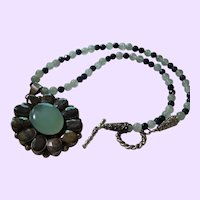 Hand Strung Necklace of Faceted Natural Sapphires and Celadon Jade
