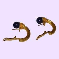 Etruscan Revival 18 Karat Gold Lapis Lazuli Earrings