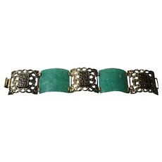 Art Deco Celluloid and Fleur De Lis Bracelet