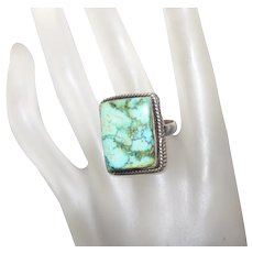 Vintage Turquoise Ring Set in Silver