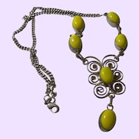 Ethnic Yellow Jade Cabochon Necklace