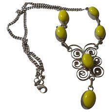 Ethnic Yellow Jade Cabochon Necklace